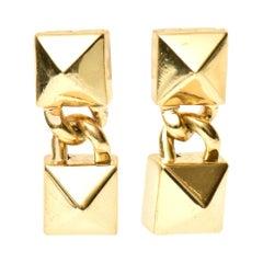 Pair of Signed Fallon Sculptural Pierced Earrings