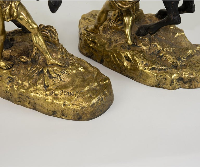 Pair of Signed French Gilt Bronze Marley Horses For Sale 6