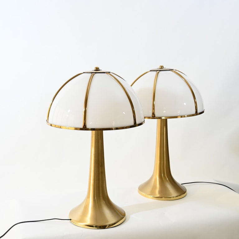 Pair of Signed Gabriella Crespi Fungo Table Lamps For Sale 3