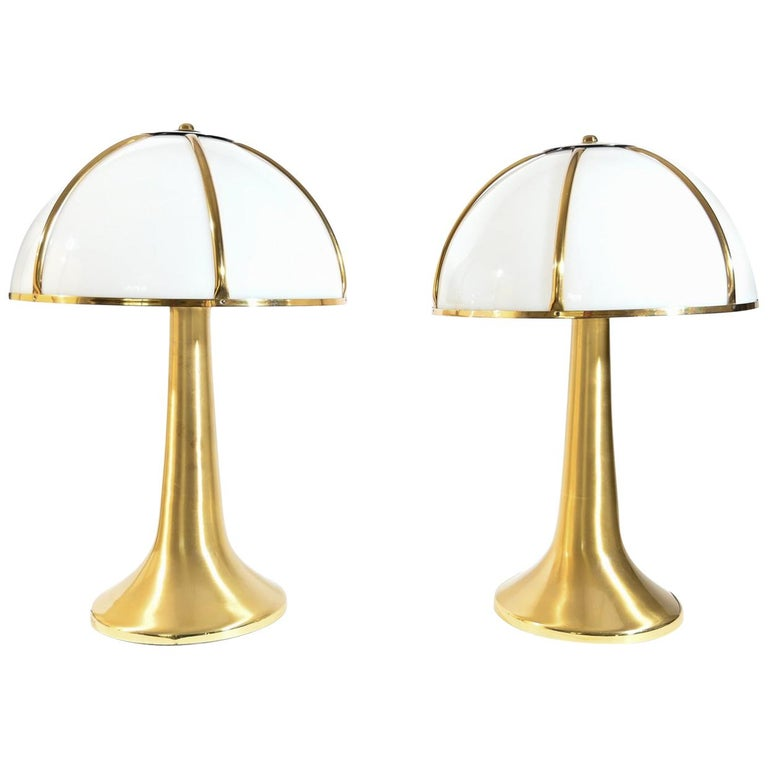 Pair of Signed Gabriella Crespi Fungo Table Lamps For Sale