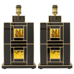 Pair of Signed Geometric Black and Gold Glass with Brass Inlays Lamps, Spain