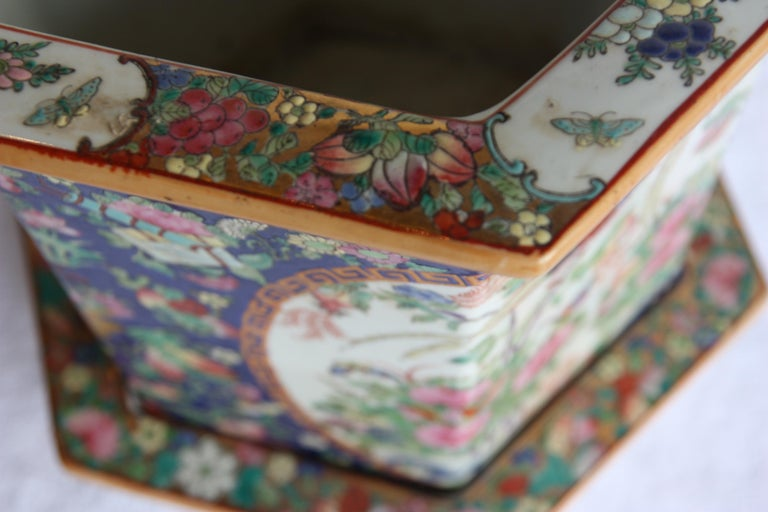 Asian Pair of Signed, Hand-Painted Jardinieres, Large and Small with Plates For Sale