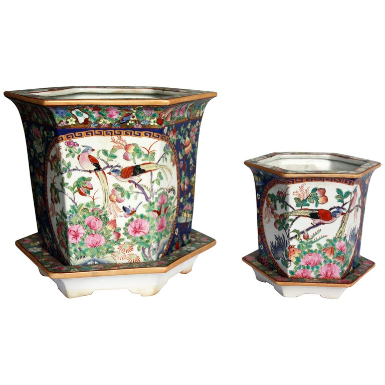 Pair of Signed, Hand-Painted Jardinieres, Large and Small with Plates For Sale