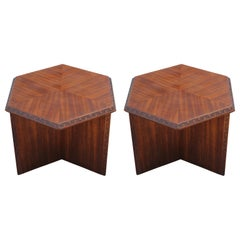 Pair Of Signed Hexagon Greek Key End Tables By Frank Lloyd Wright For Henredon