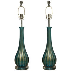 Pair of Signed Italian Murano Glass Table Lamps