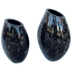 Pair of Signed Italian Vases w/ Black Murano Glass by Alberto Donà, 1980s