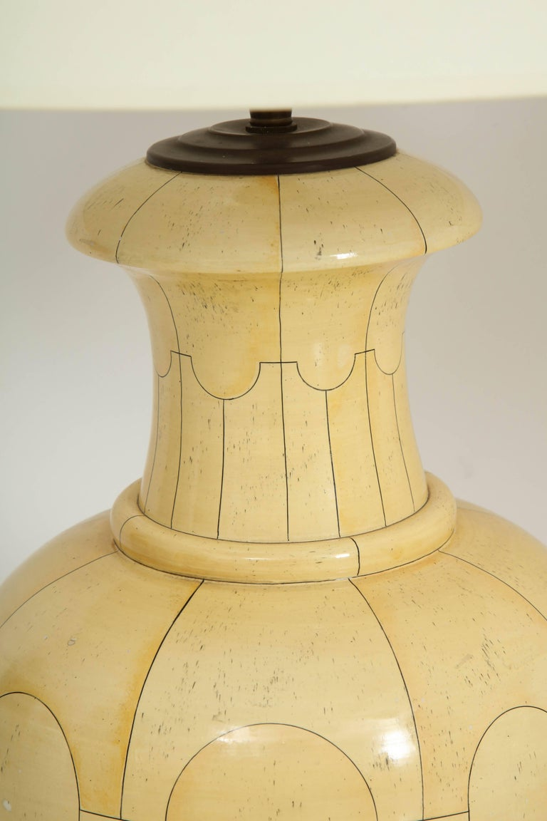 Late 20th Century Pair of Signed Jean Roger Ceramic Lamps For Sale