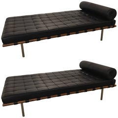 Pair of Signed Knoll Barcelona Black Leather Daybeds Ludwig Mies van der Rohe