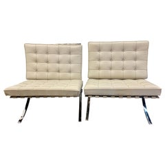 Pair of Signed Knoll Leather Barcelona Chairs by Mies van der Rohe