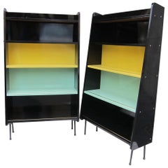 Pair of Signed Lacquered Wood & Metal Midcentury Sweden Shelves, 1960