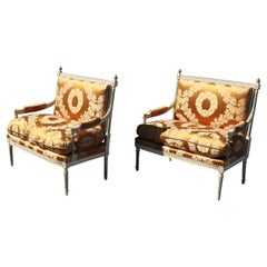 Pair of Signed Maison Jansen Paint Decorated Louis XVI Style Settees Sofas