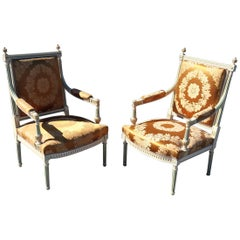 Pair of Signed Maison Jansen Paint Decorated Silk Damask Fauteuils Armchairs