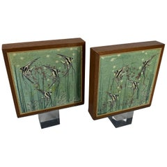 Pair of Signed Mid-Century Modern Walnut and Tile Book Ends