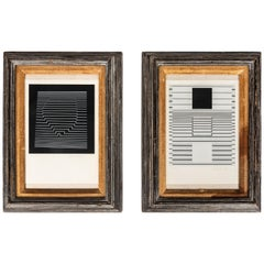 Pair of Signed, Numbered Art Prints by Victor Vasarely in Wood Frames