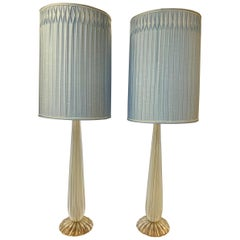 Pair of Signed Salviati Lamps Murano Glass Made in Italy
