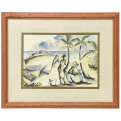 Seaside Watercolor and Ink Tropical Landscape Drawings Signed Pair Of