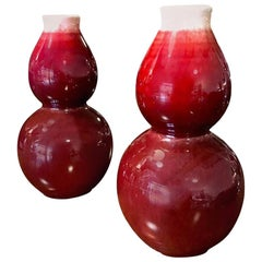 Pair of Signed Stamped Chinese Oxblood Double Gourd Vases