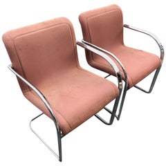 Pair of Signed Thonet Cantilever Lounge Chairs in Chrome