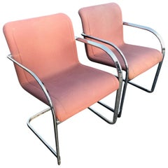 ON SALE-Pair of Signed Thonet Cantilever Lounge Chairs in Chrome