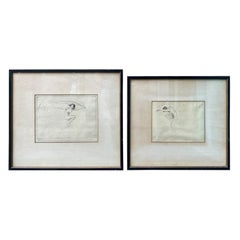 Pair of Signed Troy Kinney Drypoint Etching of Classical Nude Female Figures