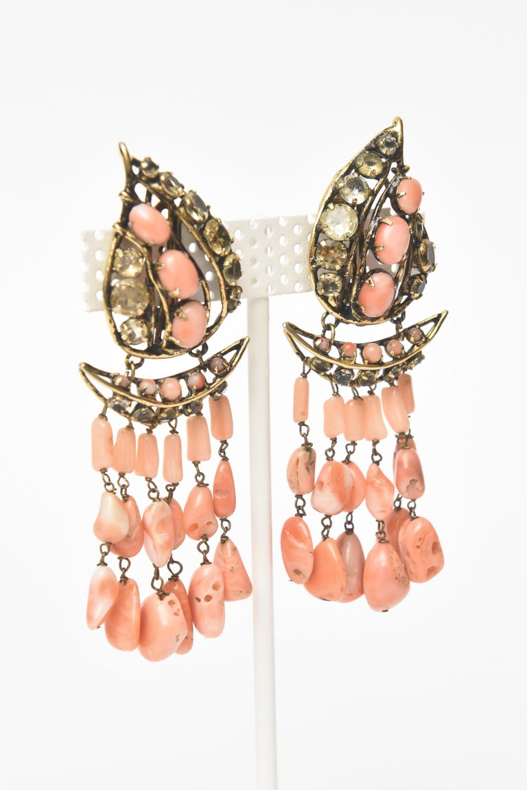 Iradj Moini Coral, Citrine & Rhinestone Dangle Earrings Vintage Signed In Good Condition For Sale In North Miami, FL