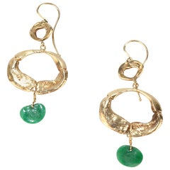 Pair of Wesley Emmons Organic Modern 14K Gold and Jade Pendant Earrings