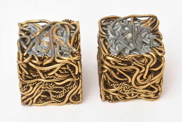 Pair of Yascal Bronze Twisted Square Cube Sculptures Signed For Sale 4