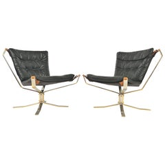 Pair of Sigurd Ressell Leather and Chrome Falcon Chairs