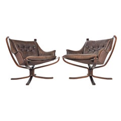 Pair of Sigurd Ressell Winged Falcon Chairs