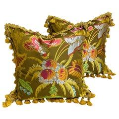 Pair of Silk Brocade Cushions with Silk Tassel Fringe