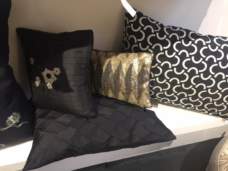 Pair of Silk Cushions Pleated Opal Pattern Embossed Color Black Rectangular In New Condition For Sale In Hamburg, DE