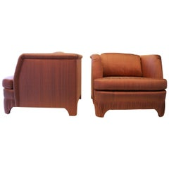 Pair of Silk Hollywood Regency Lounge Chairs with a Pleated Base
