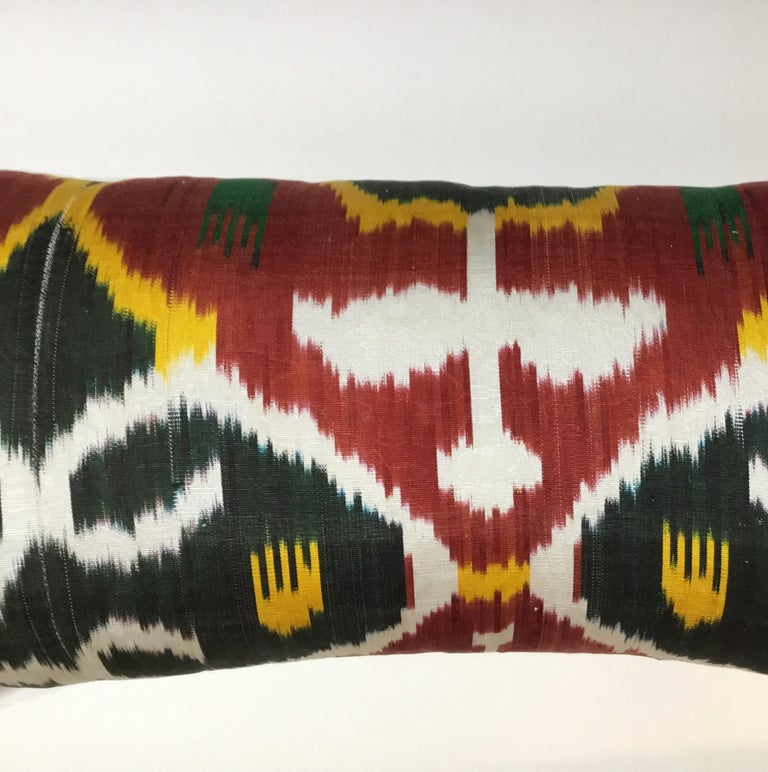 Pair of Silk Ikat Pillows For Sale 5