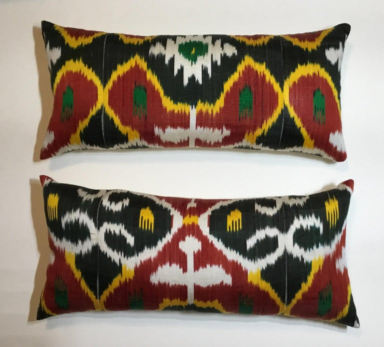Pair of Silk Ikat Pillows For Sale 7
