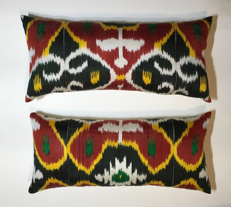 Pair of Silk Ikat Pillows For Sale 8