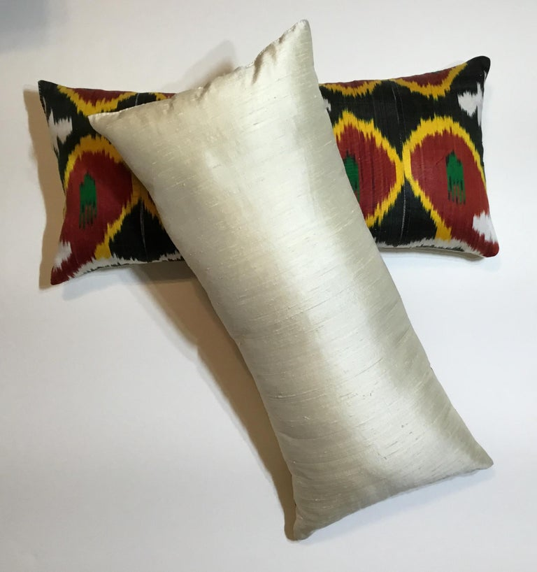 Pair of Silk Ikat Pillows For Sale 9