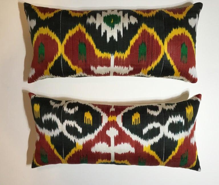 Uzbek Pair of Silk Ikat Pillows For Sale
