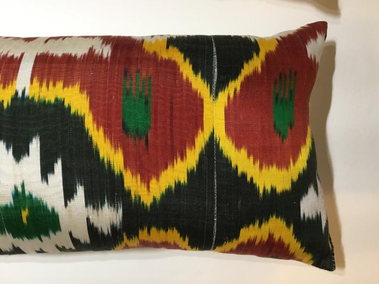20th Century Pair of Silk Ikat Pillows For Sale