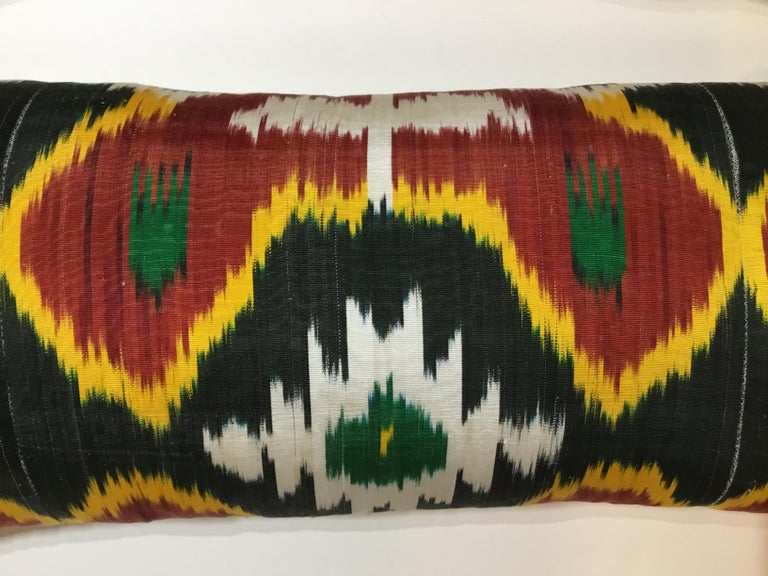 Pair of Silk Ikat Pillows For Sale 1
