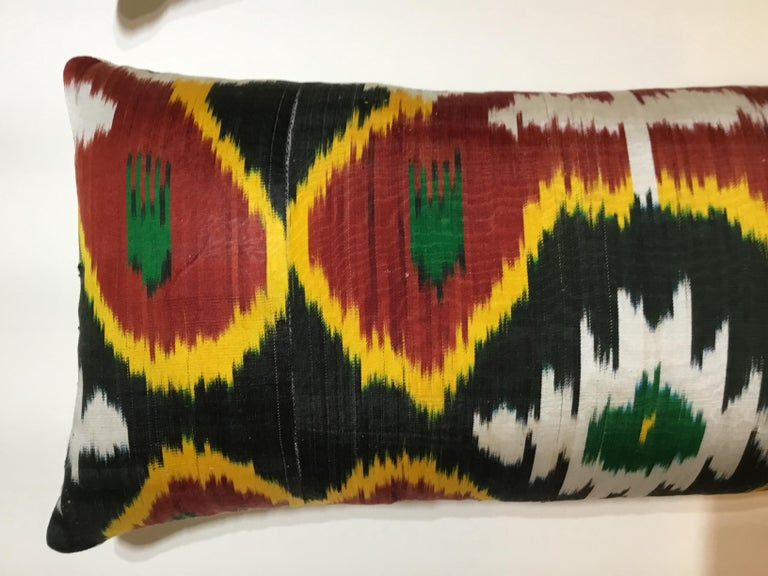 Pair of Silk Ikat Pillows For Sale 2