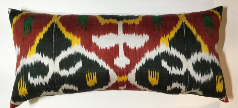 Pair of Silk Ikat Pillows For Sale 3