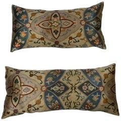 Pair of Silk Needlepoint Pillows