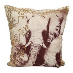 Pair of Silk Screened Elephant Pillows