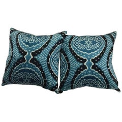 Pair of Silk Turquoise and Black Ikat Pillows