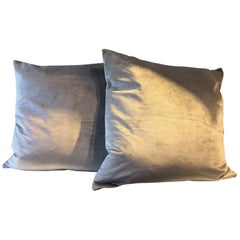 Pair of Silk Velvet Cushion Color Ice Green
