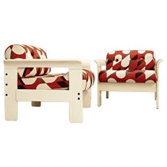 Pair of Silvano Passi Armchairs, Cream Lacquered Wood, Original Upholstery