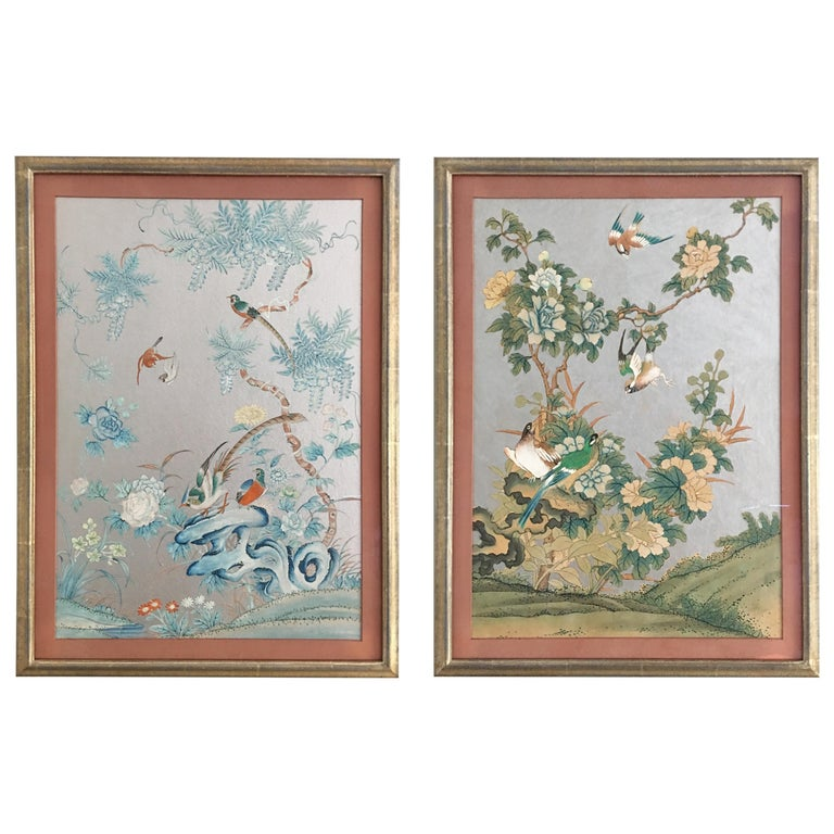 Pair Of Silver 1930s Chinoiserie Wallpaper Remnants Newly
