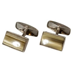 Pair of Silver and Agate Cufflinks from Erik Granit, Finland, 1960s