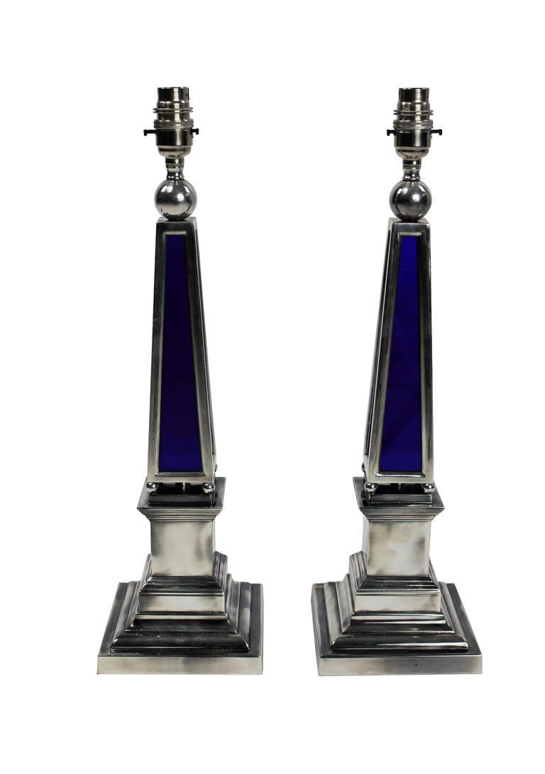 English Pair of Silver and Blue Glass Obelisk Lamps