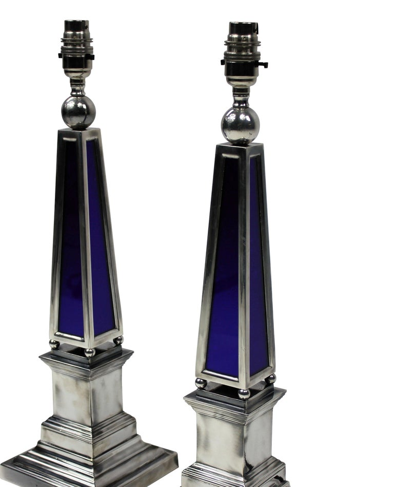 Pair of Silver and Blue Glass Obelisk Lamps In Excellent Condition In London, GB